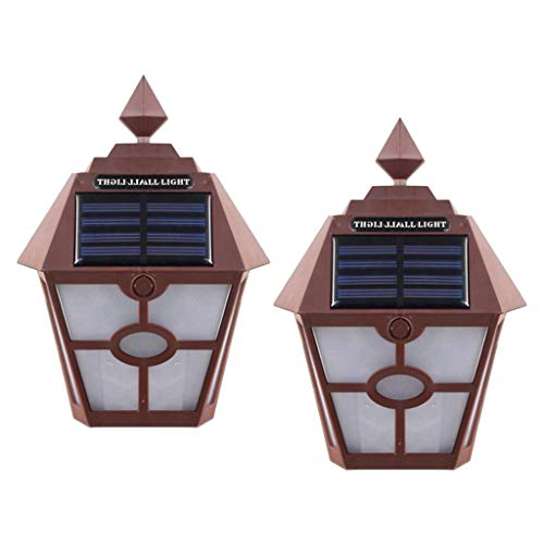 Baoblaze Paquete de 2 LED de Luz Solar de Pared para Jardín, Lámpara de Linterna Impermeable, Luces de Seguridad para Exteriores
