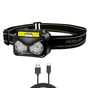 Lampe Frontale LED Rechargeable, Puissante Brillante de 1200 Lumens USB avec Détecteur de Mouvement, COB LED 62g, Lampe Frontale Confortable et Légère pour Running, Vélo, Camping, Bricolage, Lecture