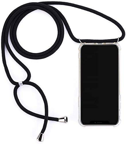 Mediatech Handykette kompatibel mit iPhone 12 Mini - Handy-Kette Handyhülle mit Band Handy Hülle mit Kordel zum Umhängen Halsband Necklace Handyanhänger Band Case Cover (Transparent 5.4 Bumper)