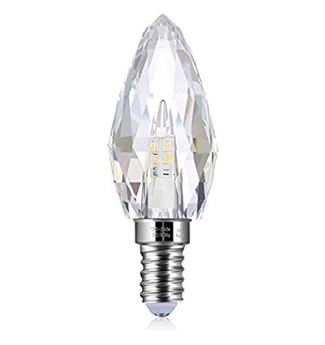 LED E14 4,3W Kristall - Leuchtmittel Lampe Bleikristall K9 warmweiß Kerze speziell designt für Kronleuchter und Lüster