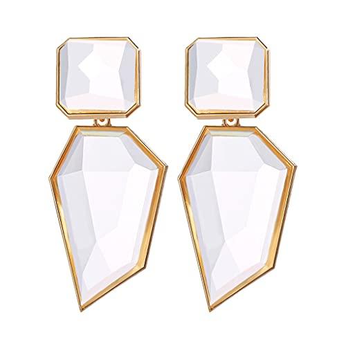 HDBD Pendientes geométricos transparentes con diseño geométrico de acrílico y cristales de gota de cristal chapado en oro y aleación de zinc para mujer