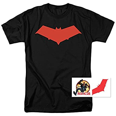 Red Hood Jason Todd DC Comics Superhero T Shirt & Exclusive Stickers (Medium)