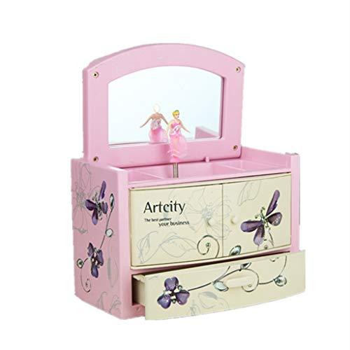 Gff Cajas para Joyas, Joyero Musical De Niños con La Bailarina Y Extraíble Cajón Caja De Música, Mariposa Linda Viajar Joyero Musical (Color : Pink)