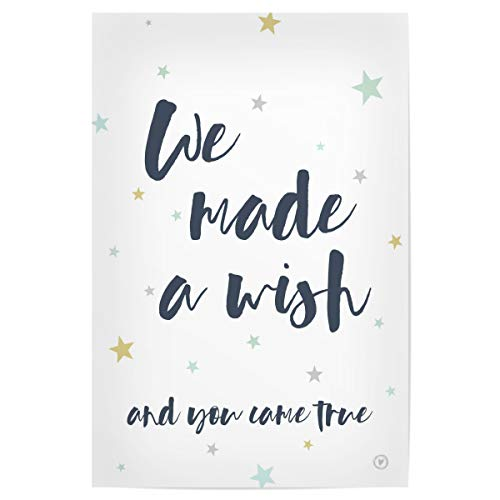 artboxONE Poster 90x60 cm Bild Kinderzimmer Typografie We Made a Wish - Bild Sterne Typo Lettering