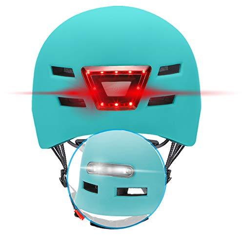 BEEPER - Casco de Bicicleta, Scooter con Luces Delanteras y traseras integradas ME135 (Azul, L)