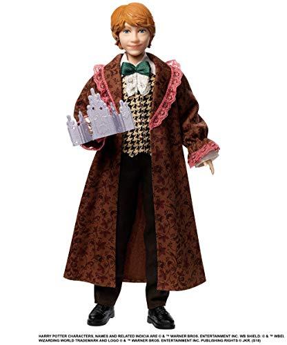Harry Potter Poupée Articulée Ron Weasley de 26 Cm en Costume Bal de Noël avec son Invitation, à Collectionner, Jouet Enfant, Gfg15