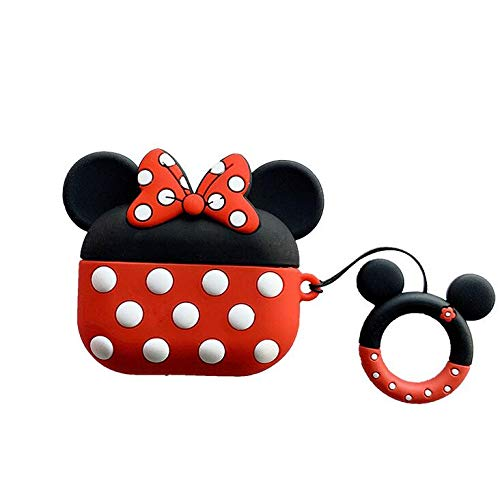 Compatible with Airpods Pro Case,Cute Cartoon Disney Mickey Minnie Mouse Design Soft Silicone Protective Case for Apple Airpods Pro 2019/Airpods Pro 3,Red