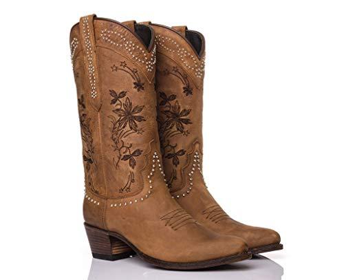Sendra Boots Western laarzen 15500 Lia Floota Marmol, met drukknopen, bruin