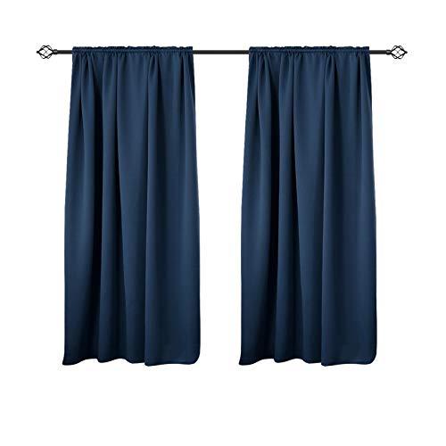 WOLTU VH5882dbl-2 Tende Oscuranti Termiche Isolanti per Finestra Tenda Opaca Senza Occhielli 2 Pannelli 135x175 cm, Blu Scuro