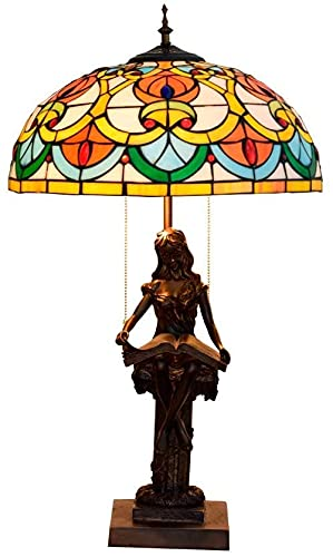 Dormitorio Light Tiffany Estilo Retro Lámparas de Vidrio Lámparas Dormitorio Lámparas de noche para sala de estar Sala de estudio Sala de estudio Iluminación Lampwith Base de resina, E27,40W Interior