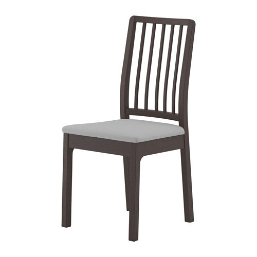 Unbekannt IKEA EKEDALEN Stuhl in weiß; Bezug Orrsta hellgrau