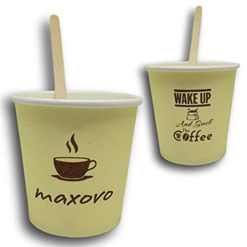 maxovo™ – Paquete de 200 Vasos Desechables Reciclables de Cartón + 200...