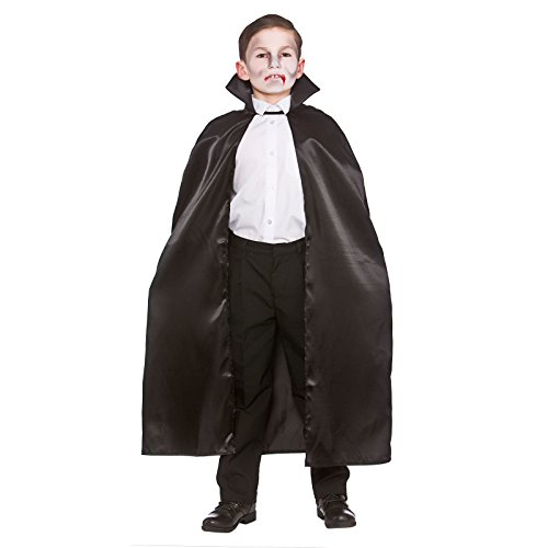 Childrens Unisex Deluxe Black Satin Cape With Collar