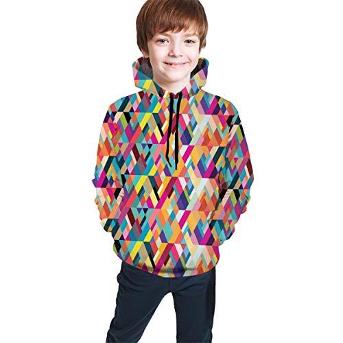 Teen Hooded Sweatshirts,Bauhaus Style Pattern of Geometric Shapes As Colorful Diagonal Tiles Modern Print S
