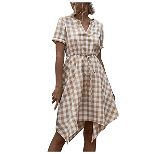 Buy Bargain Toimothcn Women's V Neck Plaid Printed Knee Length Dress Short Sleeve Irregular Work Off...
