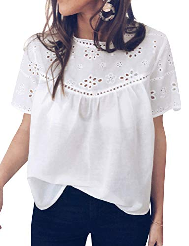 ZXZY Women Crochet Cutout Eyelet Details Shirts Short Sleeve O Neck Blouse Tops White