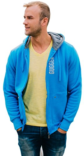 GUGGEN Mountain, Kapuzenpullover Sweatjacke Pullover mit Kaputze Hoodie, Farbe Blau, M