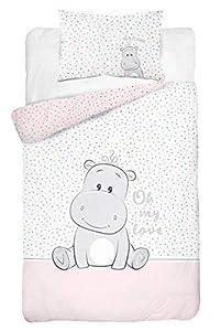 Juego de ropa de cama para bebé, 2 piezas 100 % algodón. Tamaño: 100 x 135 cm, 40 x 60 cm, certificado ÖkoTex Standard 100 (hipopótamo Love Rosa).