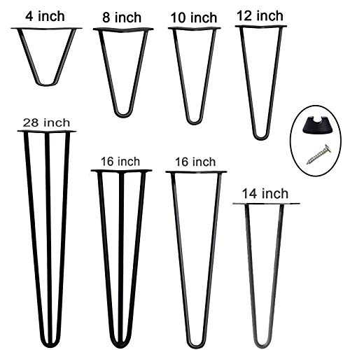 Table Legs Raw Steel Hairpin Legs 14 Inch 35cm Solid Steel Pre-Drilled Holes 2 Pin Mid Century Modern Style, for Furniture Coffee Tables Chairs Benches DIY Project, 4PCS