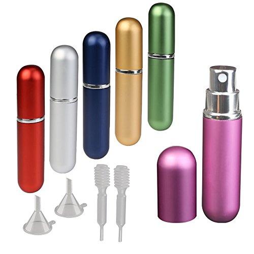 6ml y 6pcs atomizador de perfume pulverizador KAKOO para llevar colonia o liquido en viaje corto de vaporizador de perfume botella recargable vacío de interior cristal y enterior aluminio