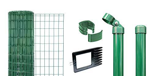 GAH-Alberts 633417 Fix-Clip Pro als Zaun-Komplettset, zum Einbetonieren | verschiedene Längen und Höhen - wahlweise in verschiedenen Farben | grün | Höhe 122 cm | Länge 25 m