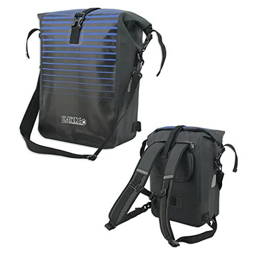Fahrradtasche Fahrradrucksack Wasserdicht E-Bike Gepäckträgertasche Tasche Schwarz Blau Rucksack 3-in-1 mit Schultergurt, Laptoptasche