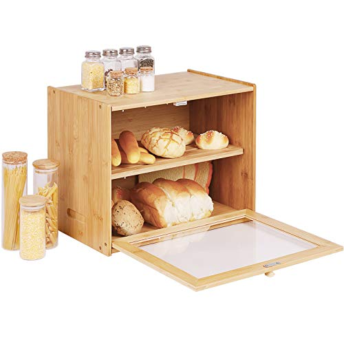 2-Layer Bamboo Bread Box Large Capacity Bread Holder Countertop Bread Storage with Transparent Window and Adjustable Shelf, Farmhouse Style (Self-Assembly)
