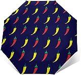 Taco Pepper Chilli Pattern - Parasol automático de tres pliegues para sombrilla