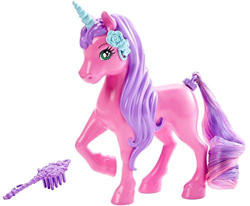 Mattel Barbie DKB53 - 4 Königreiche, Zauberhaar Tier Sortiment - kleines Einhorn pink