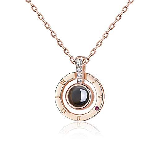 iAmotus Womens Anhänger Halskette, Memory of Love Halskette Verschiedene Sprachen Ich Liebe Dich Halskette Schmuck (Roségold)