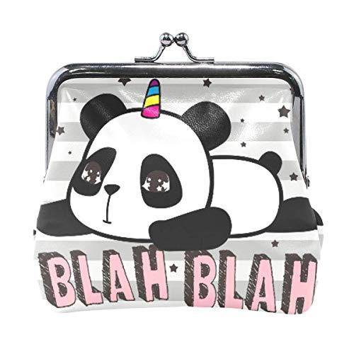 VIKKO Lindo Panda Unicornio Rayas BLAN Monedero Monedero Retro Bolsa de Dinero con Kiss-Lock Hebilla Monedero Tarjetero para Mujeres y niñas