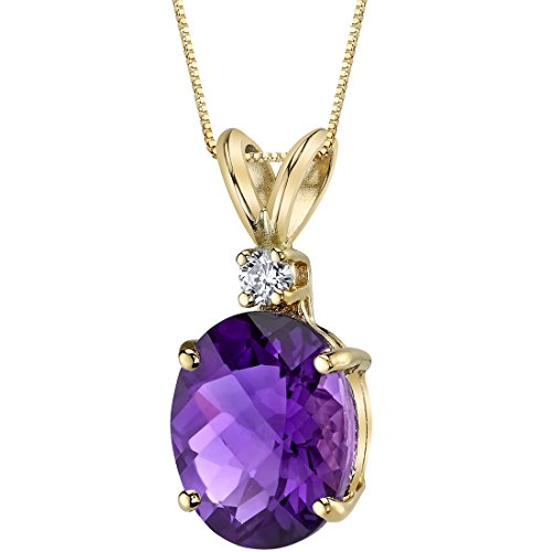 Peora Amethyst with Genuine Diamond Pendant in 14K Yellow Gold, Elegant Solitaire, Oval Shape, 10x8mm, 2 Carats total