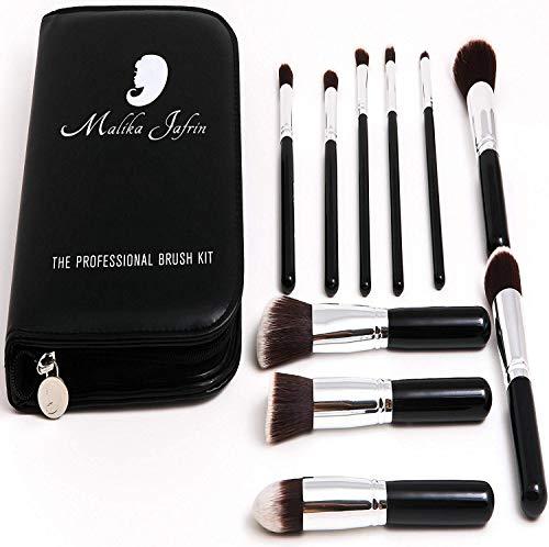 Malika jafrin, Beauty Make Up Designer, Set di pennelli: 10pennelli professionali, Pennello Kabuki zum miscelare gli ombretti e il trucco, il contouring, l'illuminante e per fissare la cipria