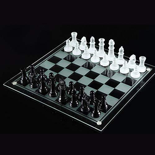 GLXLSBZ Juegos de ajedrez - Juegos de ajedrez internacionales Juegos de Viaje Tablero de ajedrez de Vidrio portátil con Piezas de ajedrez de Vidrio Educación