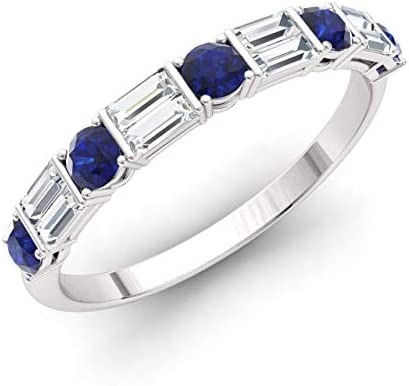 Diamondere Natural and Certified Blue Sapphire and Baguette Diamond Wedding Ring in 14K White product image