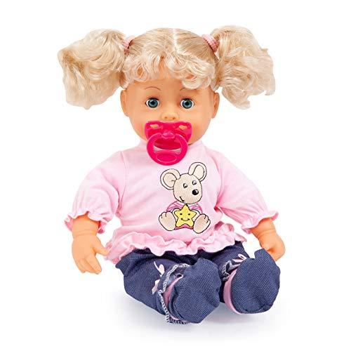 Bayer Design 93813AA Funktionspuppe Interactive Baby 38cm, Weichkörperpuppe, mit Schlafaugen, Macht 12 Babylaute, Blonde Haare