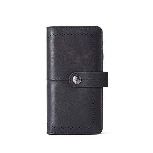 Yehyep Leder Clutch Bag, Womens große Leder Abendmode erste Schicht Leder Geldbörse Doka Holder Zip Pocket,C