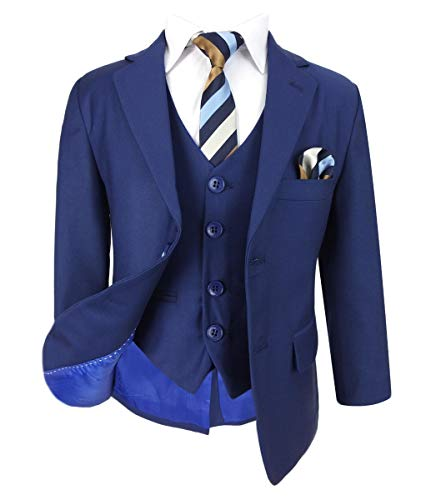 SIRRI Kinder Jungen Anzug im Italienischen Schnitt in Parliament Blau für Hochzeit, Prom, Kommunion - Parlament Blau 3 Teile, 8 Jahre