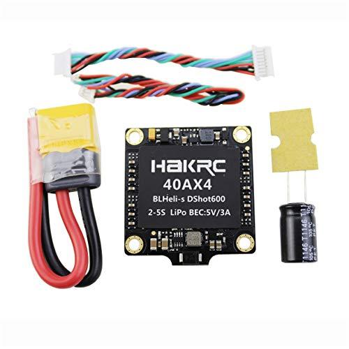 MXECO 40A 4-EN-1 BLHELI_S ESC Mini F3 F4 Tablero Controlador de Vuelo Barómetro Incorporado OSD 20x20mm Soporte sin escobillas 4S para FPV Drone (Negro)