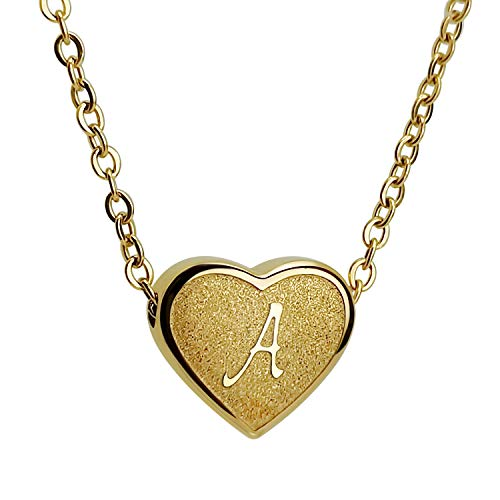 CHENGMEN Dainty Ladies Necklace Heart Engraved A Alphabet Necklaces Jewellery Birthday Gifts for Women