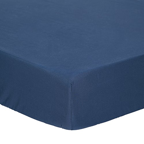 "TILLYOU Microfiber Silky Soft Crib Sheet Navy, Breathable Cool Cozy Toddler Mattress Sheet Fitted, 28""x 52""x 8'' Baby Sheet for Boys Girls, Navy Blue"