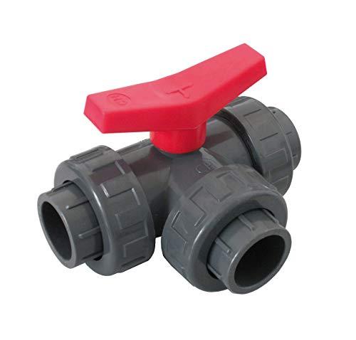 well2wellness® PVC-Kugelhahn 3-Wege Klebeanschluss mit T-Bohrung 40mm (200206)