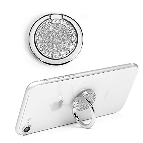 Mavis's Diary Bling Cell Phone Ring Stand Holder, Universal 360 Rotation Metal Buckle Tablet Finger Grip Kickstand Compatible with iPhone Galaxy LG Google Moto All Smartphones(Silver)