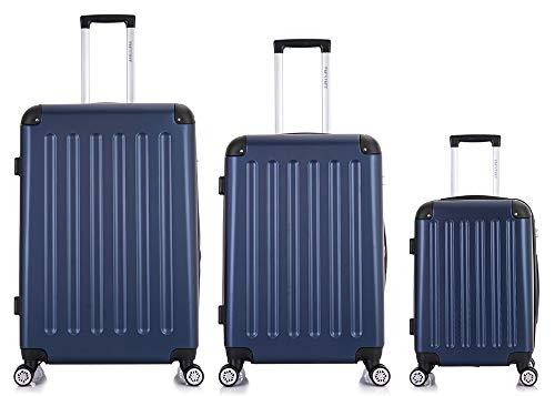 Frentree Handgepäck Koffer | Reisekoffer | Hartschalenkoffer mit 4 Rollen und TSA-Schloss, erweiterbar, Koffer Standard Farbe:Dunkelblau, Koffer 226 Grösse:Koffer Set(3 Teilig)