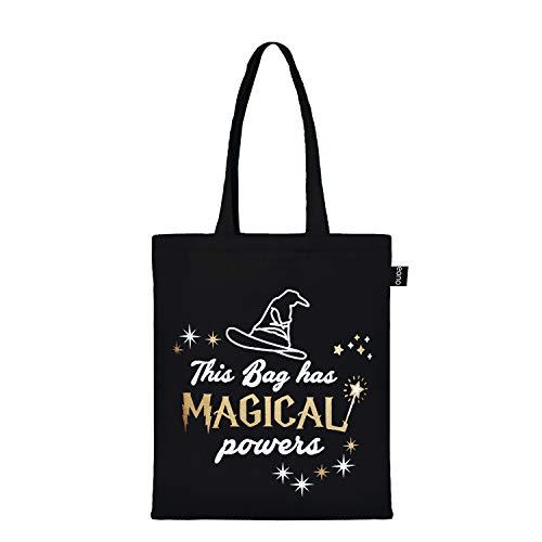 EONO baumwolltasche Tragetasche einkaufsbeutel Wiederverwendbar Einkaufstasche stofftasche reisenthel shopper Tasche– Printed Magical Powers (Schwarz)  0602H03