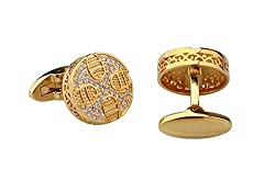 Golden Round White Rhinestones Cufflinks