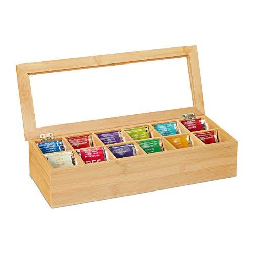 Relaxdays Teebox, Bambus, 12 Fächer, Teekiste mit Sichtfenster, Organizer für Teebeutel, HxBxT: ca. 9x41x16 cm, natur