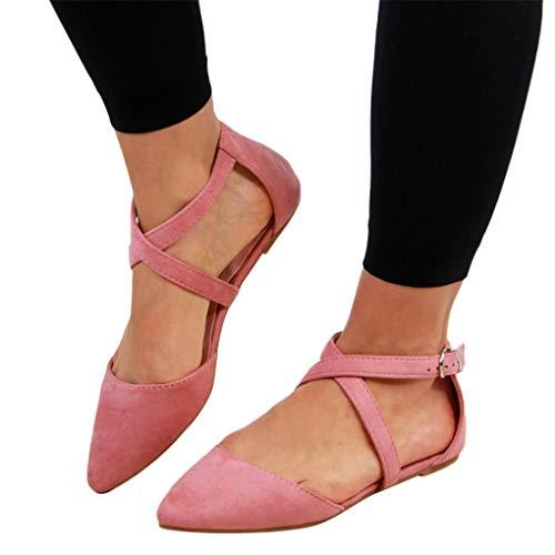 Sommer Halbschuhe für Damen/Dorical Frauen Kreuz Riemchensandale Pointed Toe Sexy Sandalen, Flach mit Schnallen Damenschuhe Mode einfache Wildleder Schuhe 35-43 EU Ausverkauf(Rosa,36 EU)