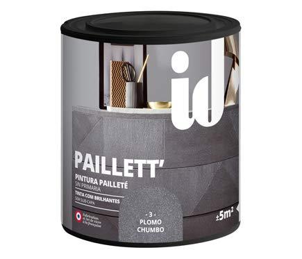 Pintura Paillett satinada efecto metalizado purpurina multisoporte. - 500 ml - (Plomo)