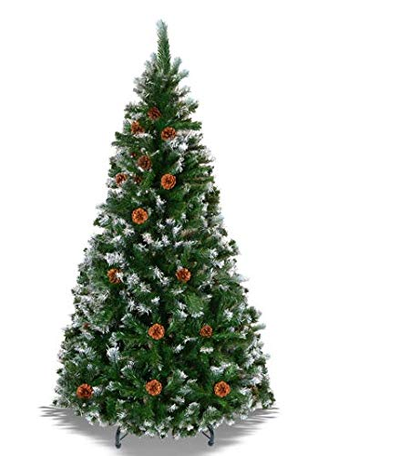 BenefitUSA Green 5' 6' 7' 7.5' Snow Tipped Christmas Tree with pinecones Artificial Realistic Natural Branches -Unlit with Steel Stand (6' with 750 Tips and 31 pinecones)